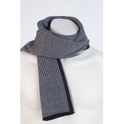 fular negru gri ,100 % lana extrafine merinos